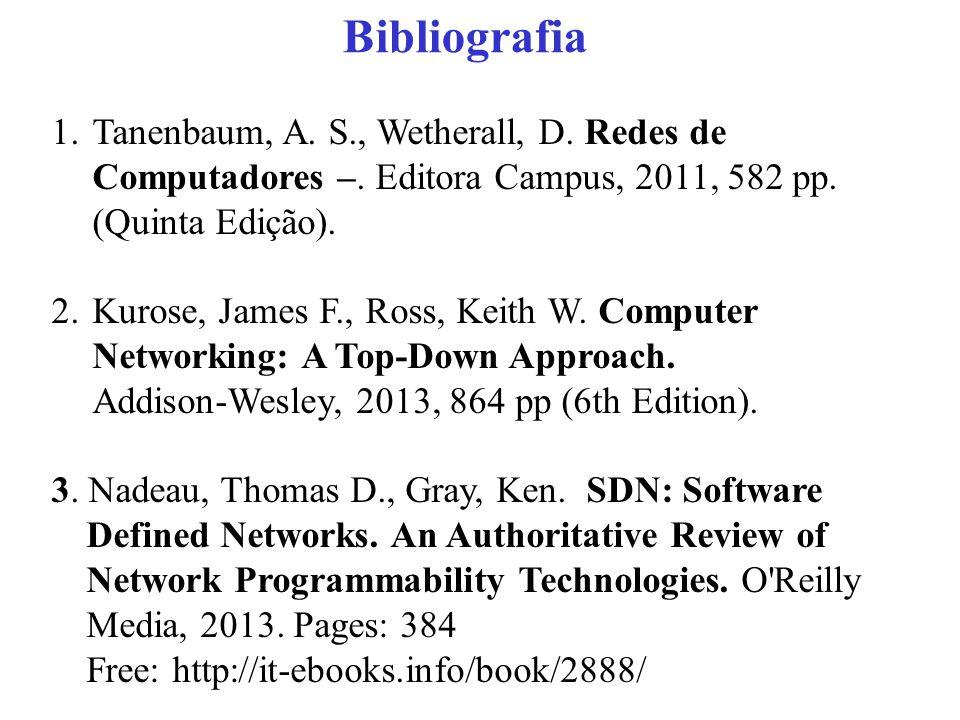 Bibliografia 1.Tanenbaum, A.S., Wetherall, D. Redes de Computadores –.