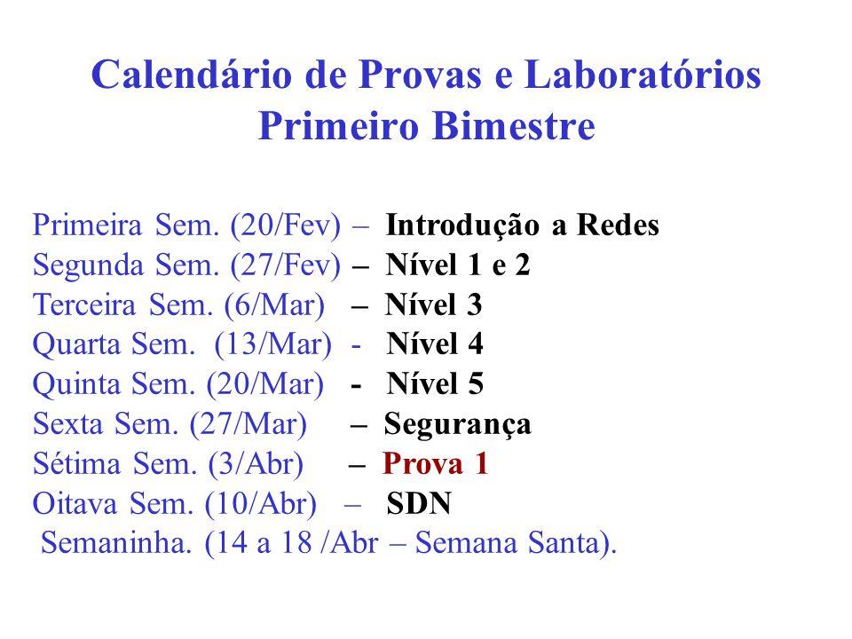 Calendário de Provas e Laboratórios Primeiro Bimestre Primeira Sem.