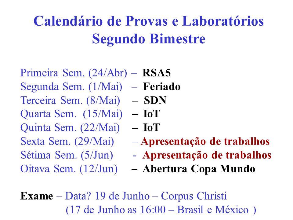Primeira Sem.(24/Abr) – RSA5 Segunda Sem. (1/Mai) – Feriado Terceira Sem.