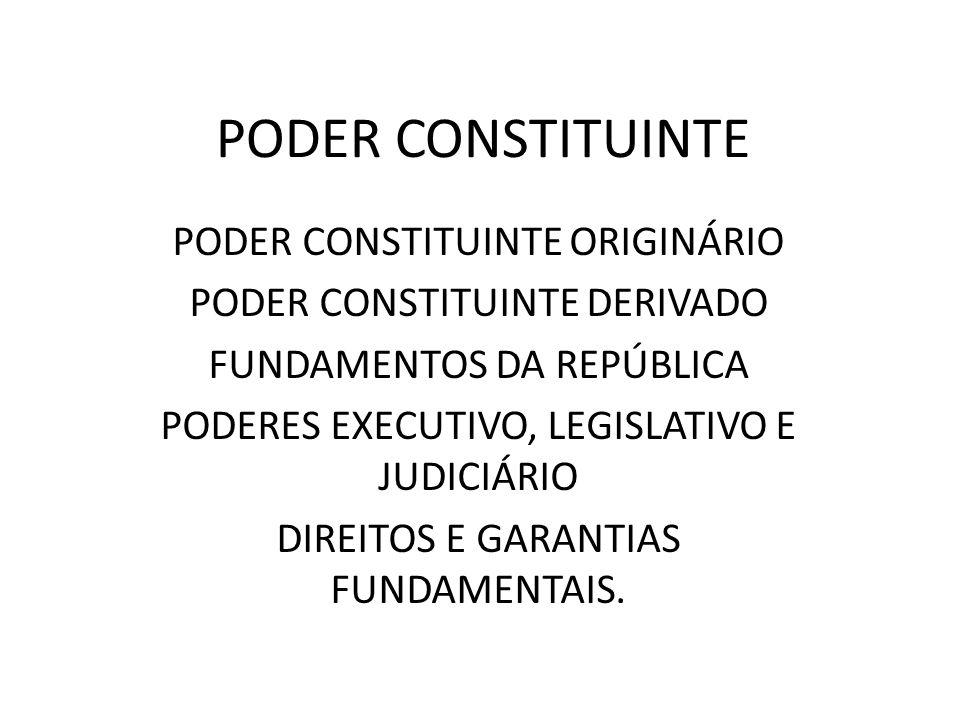 PODER CONSTITUINTE PODER CONSTITUINTE ORIGINÁRIO PODER CONSTITUINTE DERIVADO FUNDAMENTOS DA REPÚBLICA PODERES EXECUTIVO, LEGISLATIVO E JUDICIÁRIO DIRE