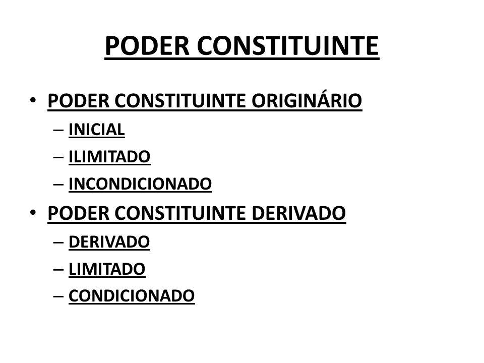 PODER CONSTITUINTE PODER CONSTITUINTE ORIGINÁRIO – INICIAL – ILIMITADO – INCONDICIONADO PODER CONSTITUINTE DERIVADO – DERIVADO – LIMITADO – CONDICIONA