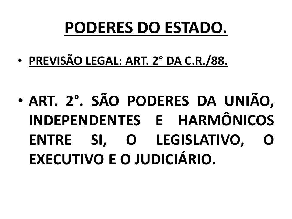 PODERES DO ESTADO. PREVISÃO LEGAL: ART. 2° DA C.R./88. ART. 2°. SÃO PODERES DA UNIÃO, INDEPENDENTES E HARMÔNICOS ENTRE SI, O LEGISLATIVO, O EXECUTIVO