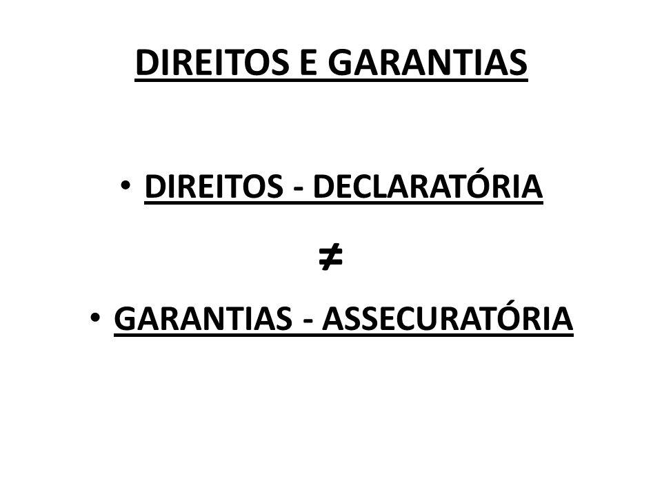 DIREITOS E GARANTIAS DIREITOS - DECLARATÓRIA GARANTIAS - ASSECURATÓRIA