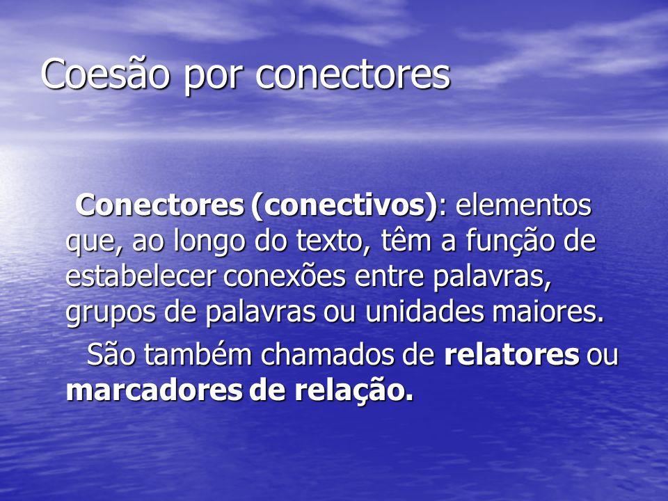 Coesão por conectores Conectores (conectivos): elementos que, ao longo do texto, têm a função de estabelecer conexões entre palavras, grupos de palavr