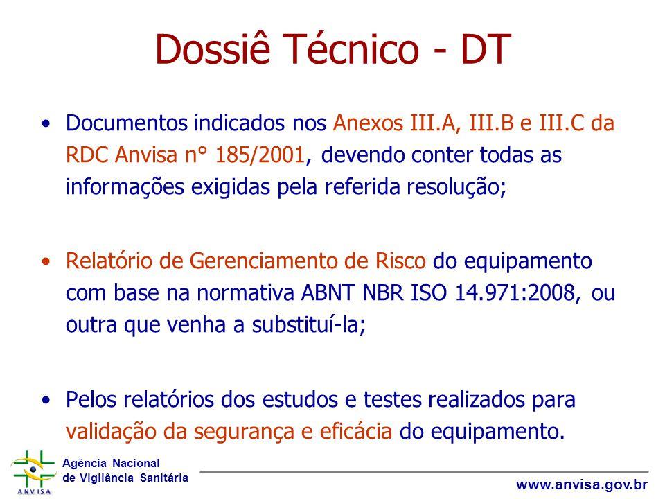 Agência Nacional de Vigilância Sanitária www.anvisa.gov.br Dossiê Técnico - DT Documentos indicados nos Anexos III.A, III.B e III.C da RDC Anvisa n° 1