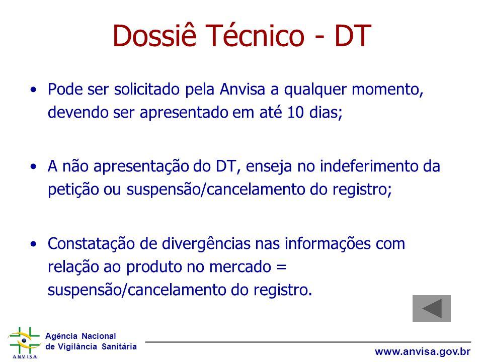 Agência Nacional de Vigilância Sanitária www.anvisa.gov.br Dossiê Técnico - DT Pode ser solicitado pela Anvisa a qualquer momento, devendo ser apresen