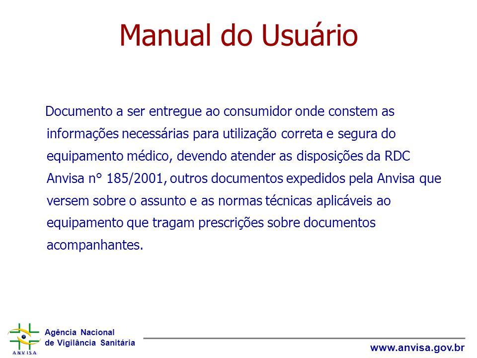 Agência Nacional de Vigilância Sanitária www.anvisa.gov.br Manual do Usuário Documento a ser entregue ao consumidor onde constem as informações necess