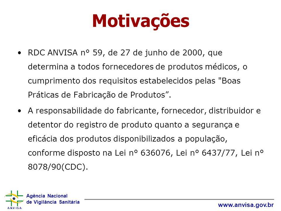 Agência Nacional de Vigilância Sanitária www.anvisa.gov.br Motivações RDC ANVISA n° 59, de 27 de junho de 2000, que determina a todos fornecedores de produtos médicos, o cumprimento dos requisitos estabelecidos pelas Boas Práticas de Fabricação de Produtos.