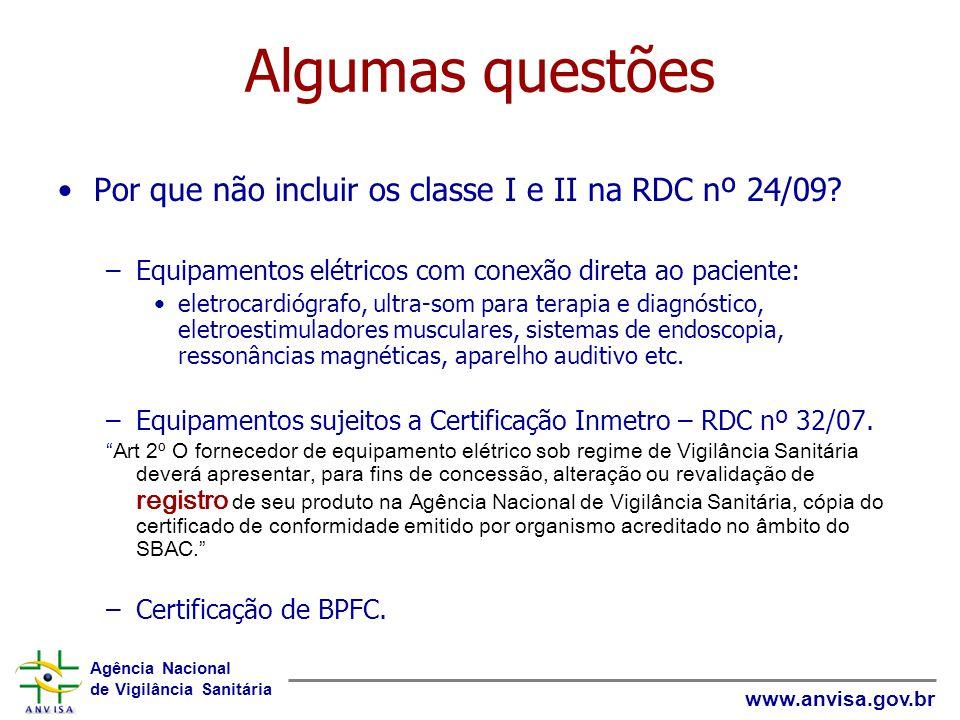 Agência Nacional de Vigilância Sanitária www.anvisa.gov.br Algumas questões Por que não incluir os classe I e II na RDC nº 24/09? –Equipamentos elétri