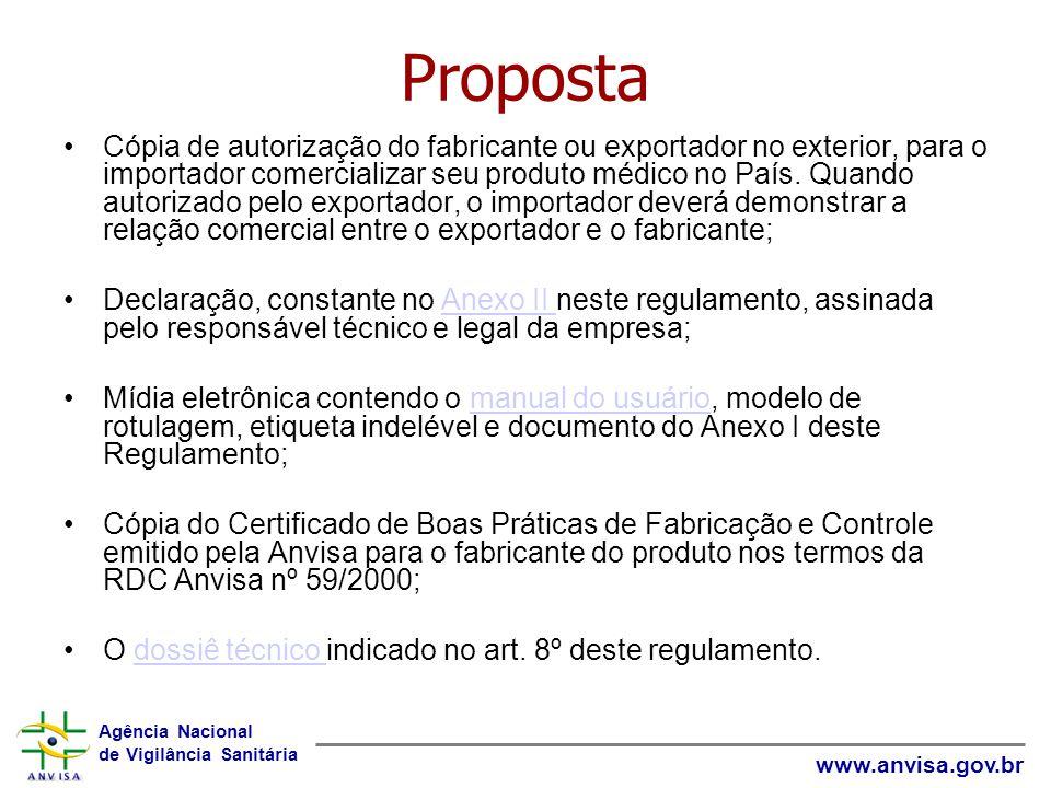 Agência Nacional de Vigilância Sanitária www.anvisa.gov.br Proposta Cópia de autorização do fabricante ou exportador no exterior, para o importador comercializar seu produto médico no País.