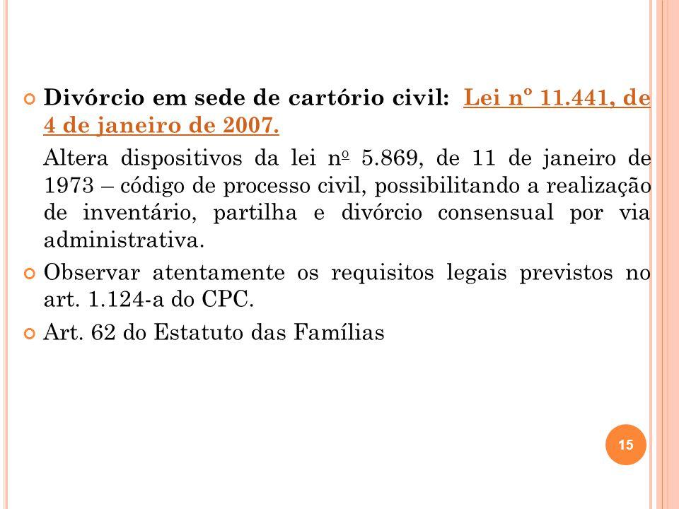 Divórcio em sede de cartório civil: Lei nº 11.441, de 4 de janeiro de 2007.Lei nº 11.441, de 4 de janeiro de 2007.