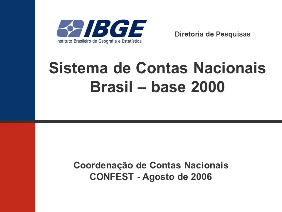 Diretoria de Pesquisas Sistema de Contas Nacionais Brasil – base 2000 Coordenação de Contas Nacionais CONFEST - Agosto de 2006