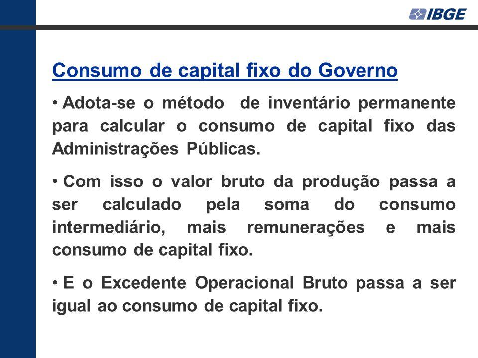 Consumo de capital fixo do Governo Adota-se o método de inventário permanente para calcular o consumo de capital fixo das Administrações Públicas.