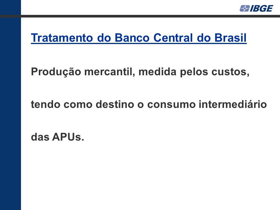 Tratamento do Banco Central do Brasil Produção mercantil, medida pelos custos, tendo como destino o consumo intermediário das APUs.