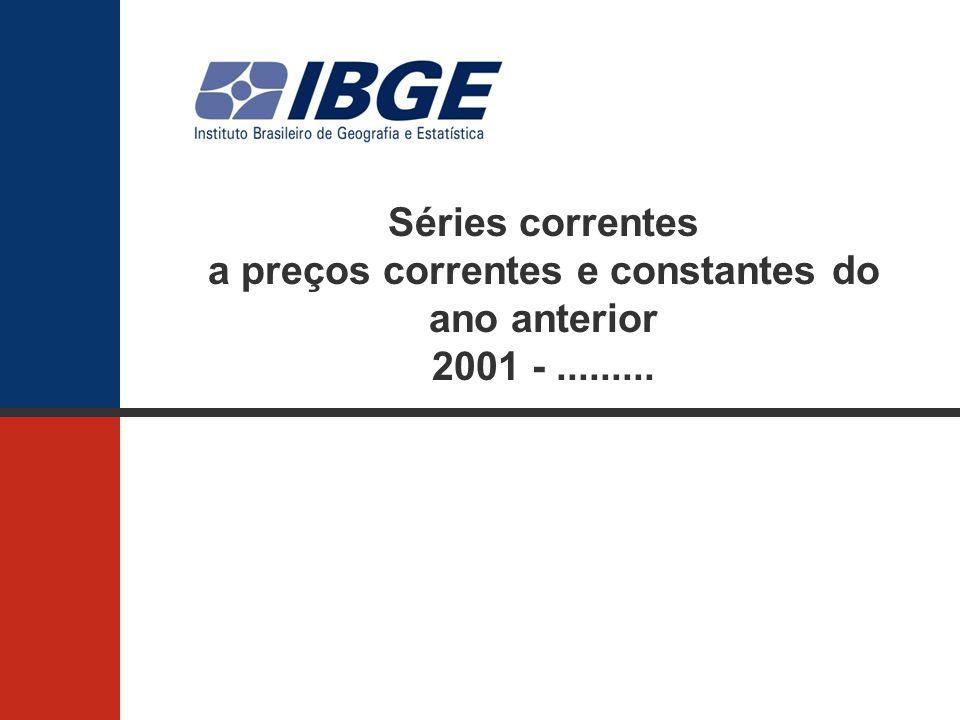 Séries correntes a preços correntes e constantes do ano anterior 2001 -.........