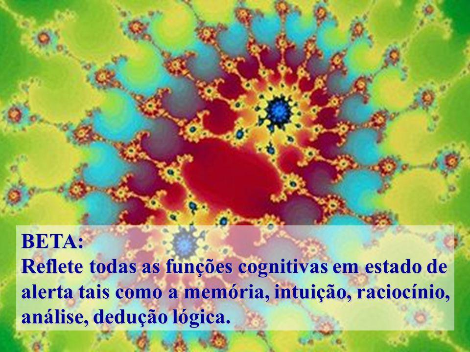 BETA: Reflete todas as funções cognitivas em estado de alerta tais como a memória, intuição, raciocínio, análise, dedução lógica.