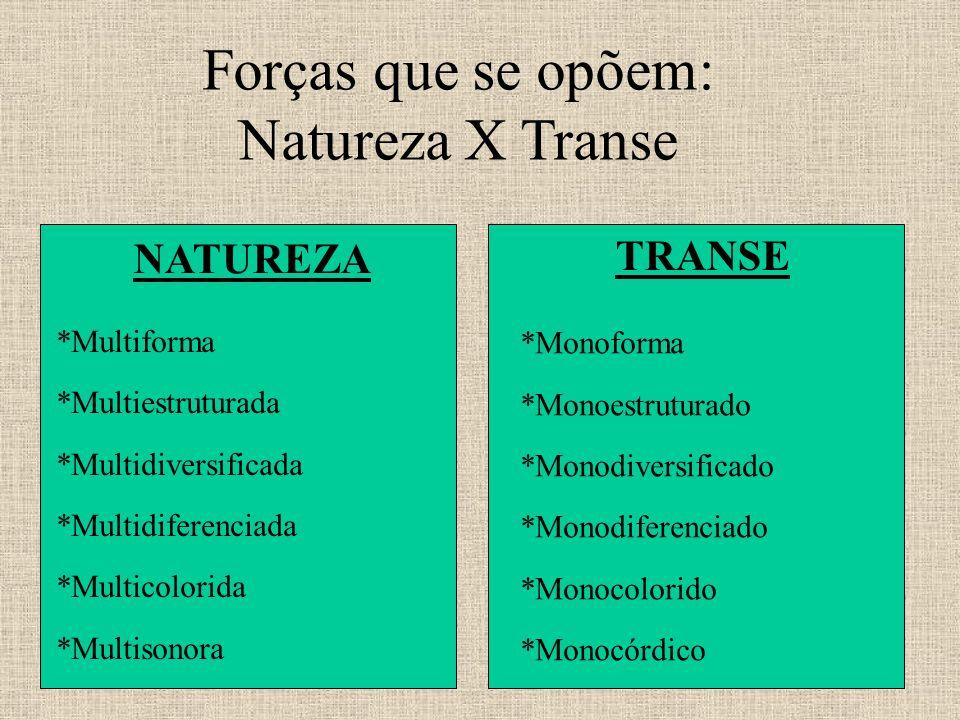 Forças que se opõem: Natureza X Transe NATUREZA *Multiforma *Multiestruturada *Multidiversificada *Multidiferenciada *Multicolorida *Multisonora TRANSE *Monoforma *Monoestruturado *Monodiversificado *Monodiferenciado *Monocolorido *Monocórdico