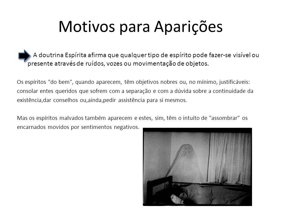 Motivos para Aparições A doutrina Espírita afirma que qualquer tipo de espírito pode fazer-se visível ou presente através de ruídos, vozes ou movimentação de objetos.