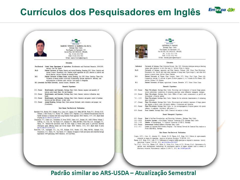 Currículos dos Pesquisadores em Inglês Padrão similar ao ARS-USDA – Atualização Semestral