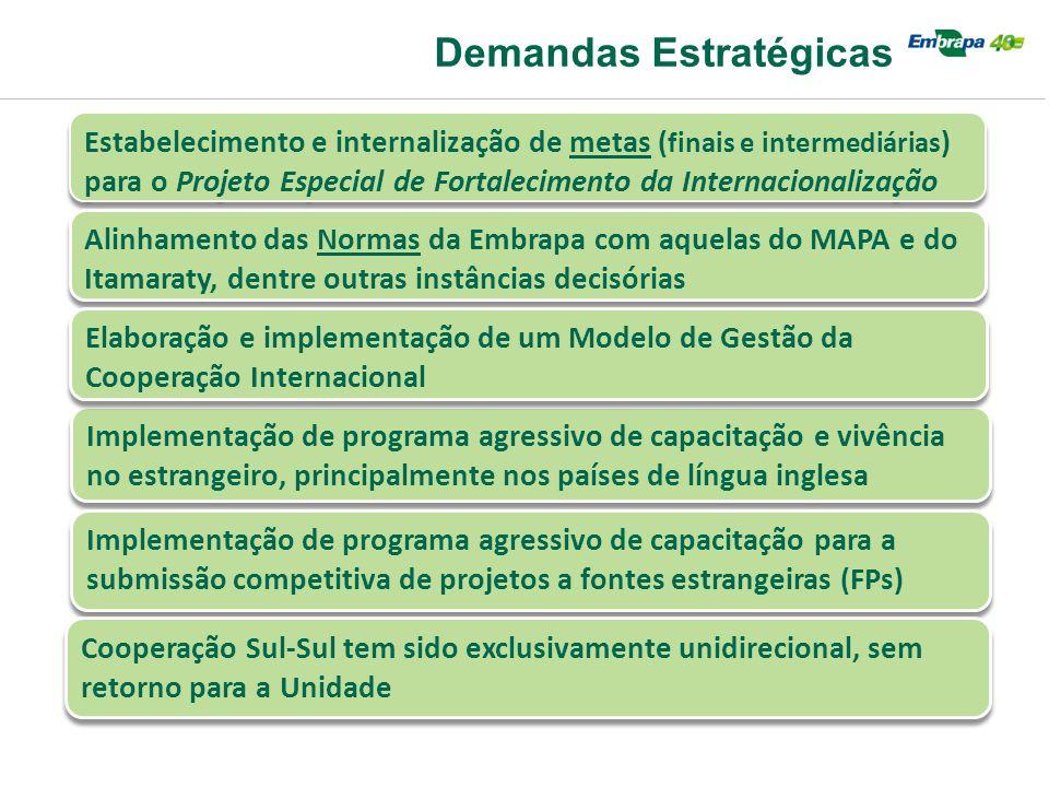 Demandas Estratégicas Estabelecimento e internalização de metas ( finais e intermediárias ) para o Projeto Especial de Fortalecimento da Internacional