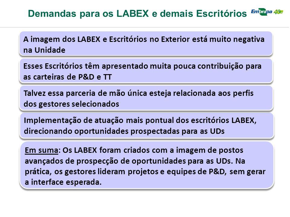 Demandas para os LABEX e demais Escritórios A imagem dos LABEX e Escritórios no Exterior está muito negativa na Unidade Esses Escritórios têm apresent