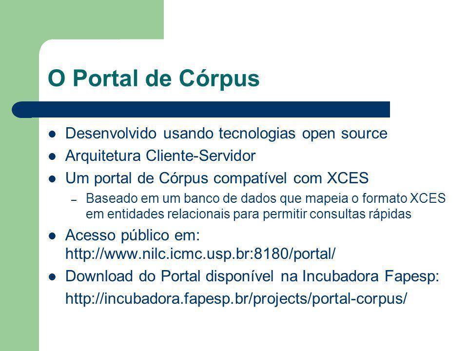 O Portal de Córpus Desenvolvido usando tecnologias open source Arquitetura Cliente-Servidor Um portal de Córpus compatível com XCES – Baseado em um banco de dados que mapeia o formato XCES em entidades relacionais para permitir consultas rápidas Acesso público em: http://www.nilc.icmc.usp.br:8180/portal/ Download do Portal disponível na Incubadora Fapesp: http://incubadora.fapesp.br/projects/portal-corpus/