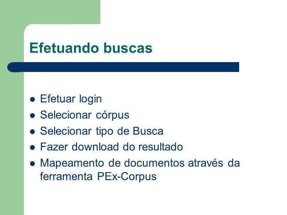 Efetuando buscas Efetuar login Selecionar córpus Selecionar tipo de Busca Fazer download do resultado Mapeamento de documentos através da ferramenta PEx-Corpus