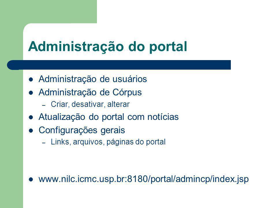 Administração do portal Administração de usuários Administração de Córpus – Criar, desativar, alterar Atualização do portal com notícias Configurações gerais – Links, arquivos, páginas do portal www.nilc.icmc.usp.br:8180/portal/admincp/index.jsp