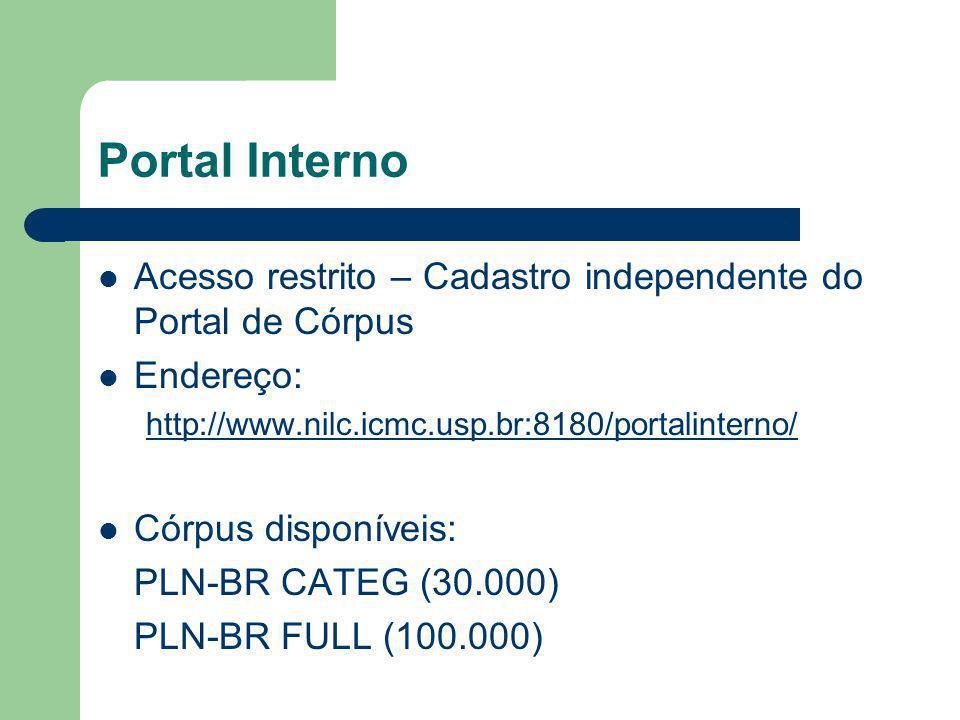 Portal Interno Acesso restrito – Cadastro independente do Portal de Córpus Endereço: http://www.nilc.icmc.usp.br:8180/portalinterno/ Córpus disponíveis: PLN-BR CATEG (30.000) PLN-BR FULL (100.000)