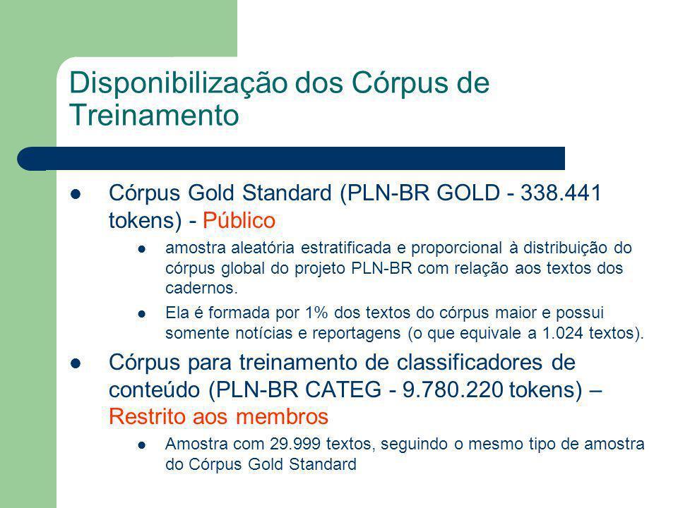 Disponibilização dos Córpus de Treinamento Córpus Gold Standard (PLN-BR GOLD - 338.441 tokens) - Público amostra aleatória estratificada e proporcional à distribuição do córpus global do projeto PLN-BR com relação aos textos dos cadernos.