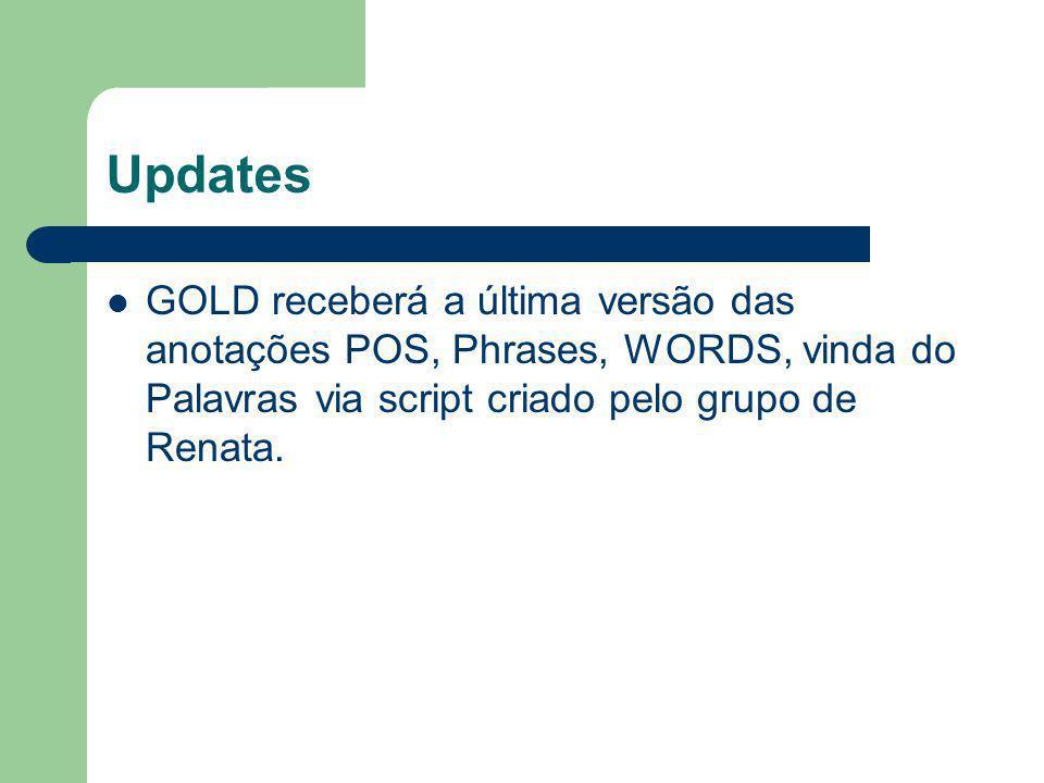Updates GOLD receberá a última versão das anotações POS, Phrases, WORDS, vinda do Palavras via script criado pelo grupo de Renata.