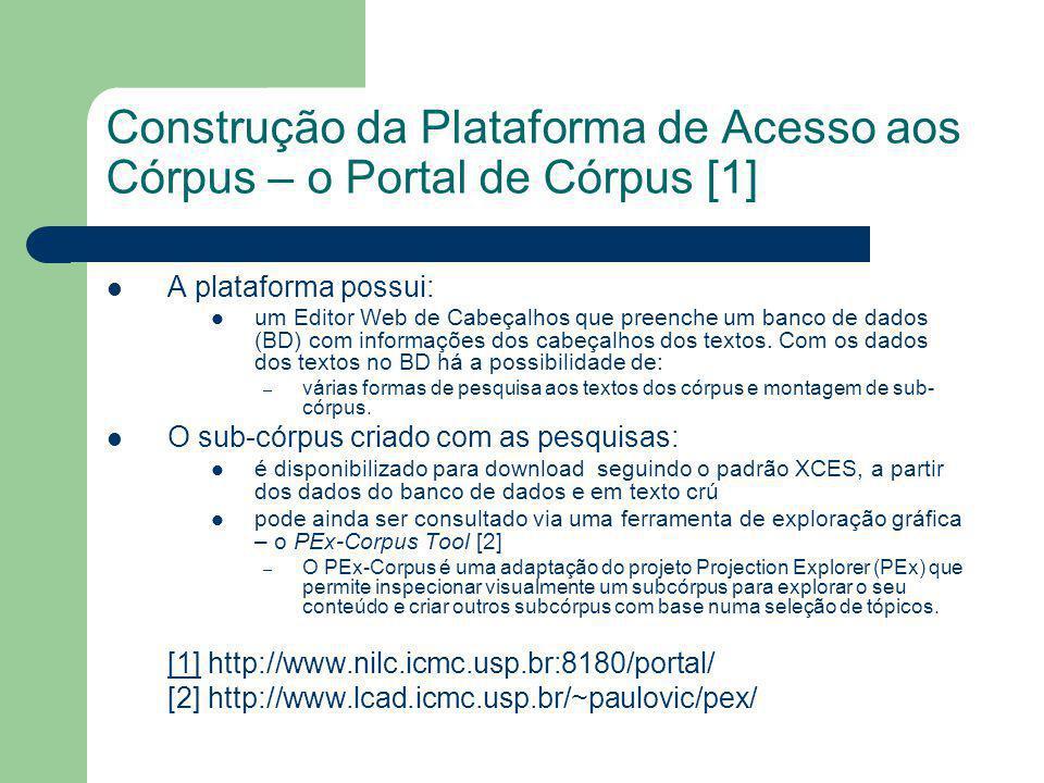 Construção da Plataforma de Acesso aos Córpus – o Portal de Córpus [1] A plataforma possui: um Editor Web de Cabeçalhos que preenche um banco de dados (BD) com informações dos cabeçalhos dos textos.