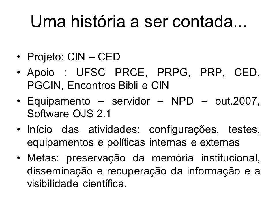 Projeto: CIN – CED Apoio : UFSC PRCE, PRPG, PRP, CED, PGCIN, Encontros Bibli e CIN Equipamento – servidor – NPD – out.2007, Software OJS 2.1 Início da