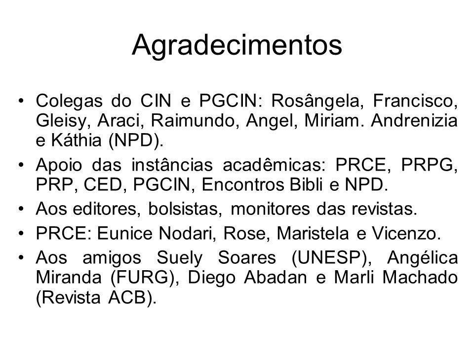 Agradecimentos Colegas do CIN e PGCIN: Rosângela, Francisco, Gleisy, Araci, Raimundo, Angel, Miriam. Andrenizia e Káthia (NPD). Apoio das instâncias a