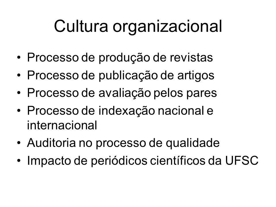 Cultura organizacional Processo de produção de revistas Processo de publicação de artigos Processo de avaliação pelos pares Processo de indexação nacional e internacional Auditoria no processo de qualidade Impacto de periódicos científicos da UFSC