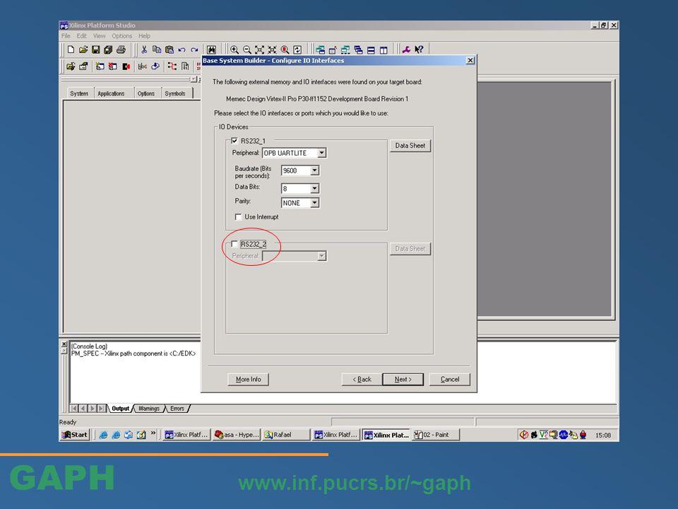 GAPH www.inf.pucrs.br/~gaph O periférico vai ser adicionado a estrutura do projeto atual