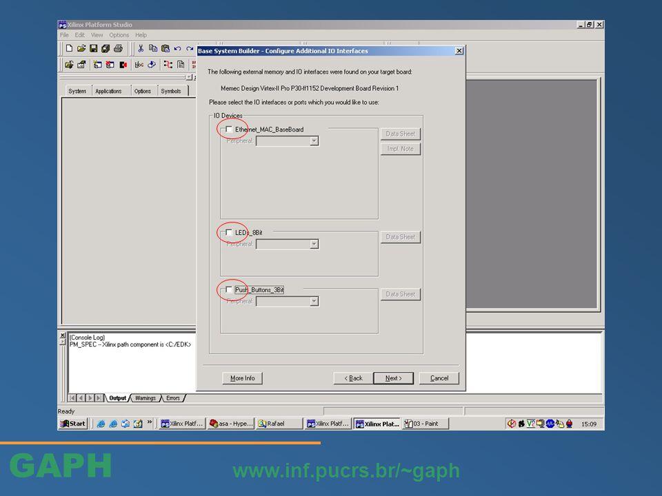 GAPH www.inf.pucrs.br/~gaph Editar o hw do perif. criado: arquivo user_logic.vhd