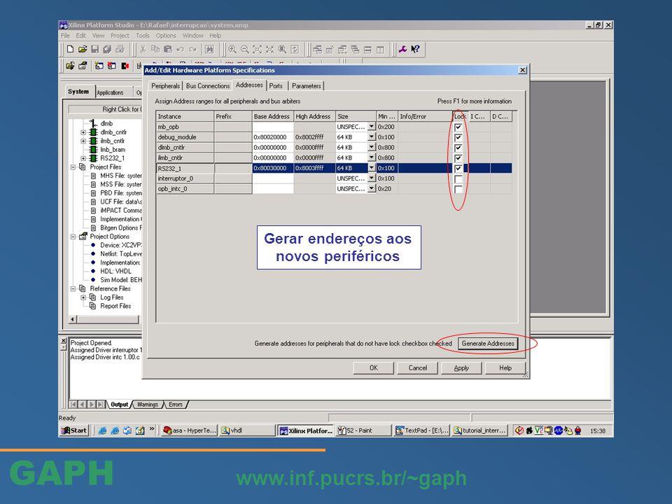 GAPH www.inf.pucrs.br/~gaph Gerar endereços aos novos periféricos