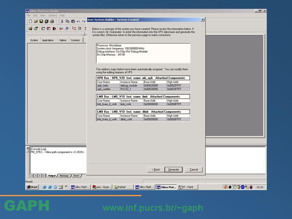 GAPH www.inf.pucrs.br/~gaph Definir os nomes dos fios que conectam o controlador de interrupção ao sistema