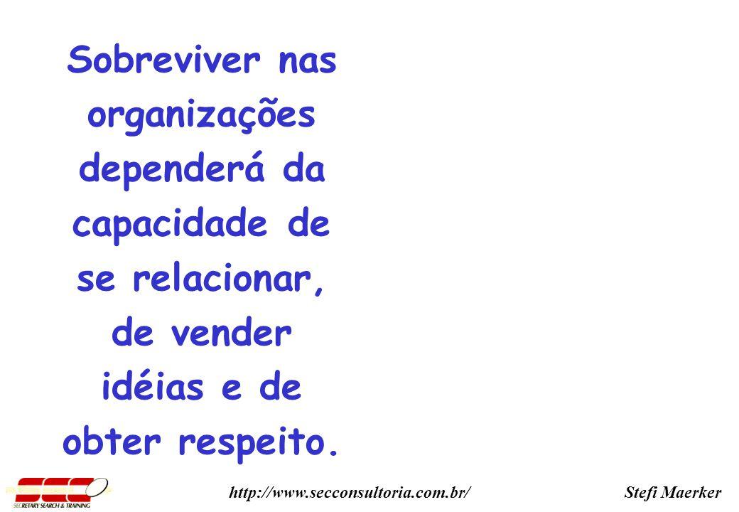 Stefi Maerkerhttp://www.secconsultoria.com.br/ Sobreviver nas organizações dependerá da capacidade de se relacionar, de vender idéias e de obter respeito.