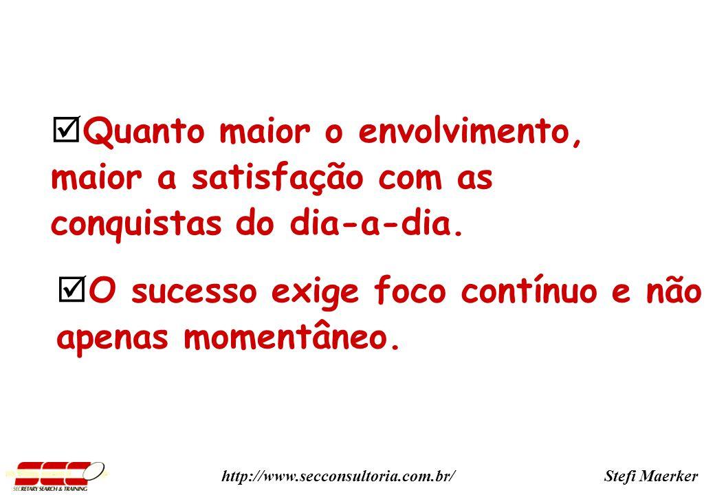 Stefi Maerkerhttp://www.secconsultoria.com.br/ Quanto maior o envolvimento, maior a satisfação com as conquistas do dia-a-dia.