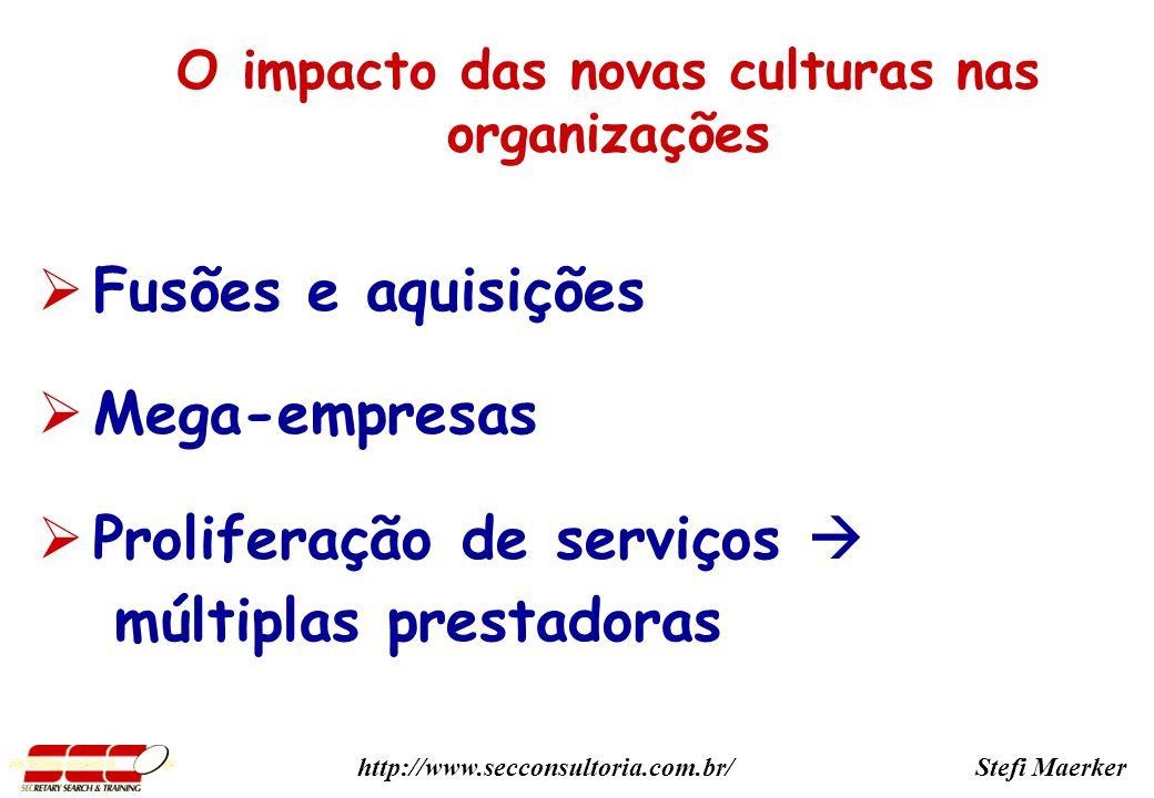 Stefi Maerkerhttp://www.secconsultoria.com.br/ Fusões e aquisições Mega-empresas Proliferação de serviços múltiplas prestadoras O impacto das novas culturas nas organizações