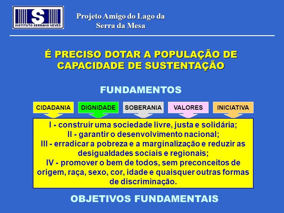 Projeto Amigo do Lago da Serra da Mesa CIDADANIADIGNIDADESOBERANIAVALORESINICIATIVA FUNDAMENTOS I - construir uma sociedade livre, justa e solidária;