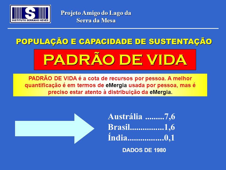 Projeto Amigo do Lago da Serra da Mesa POPULAÇÃO E CAPACIDADE DE SUSTENTAÇÃO PADRÃO DE VIDA PADRÃO DE VIDA é a cota de recursos por pessoa. A melhor q