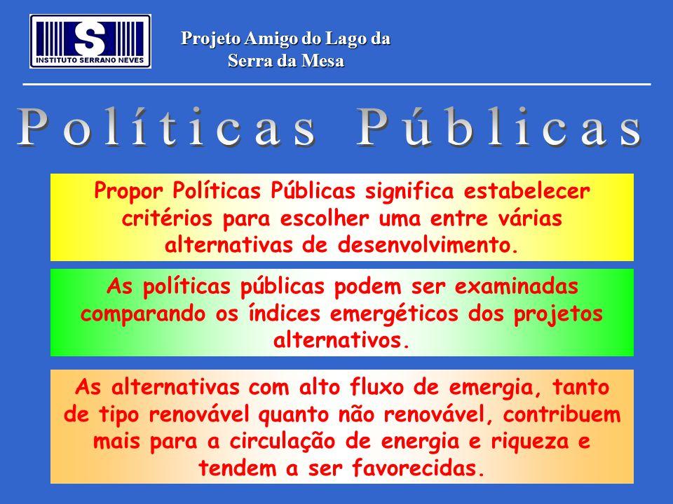 Projeto Amigo do Lago da Serra da Mesa Propor Políticas Públicas significa estabelecer critérios para escolher uma entre várias alternativas de desenv