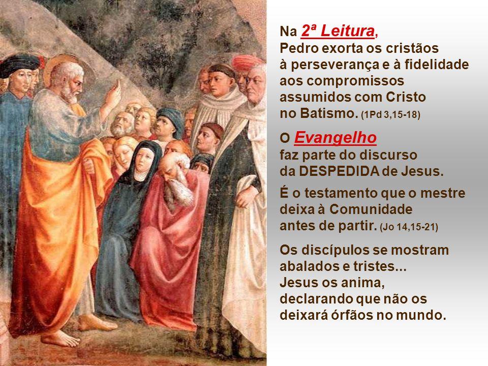 Na 2ª Leitura, Pedro exorta os cristãos à perseverança e à fidelidade aos compromissos assumidos com Cristo no Batismo.