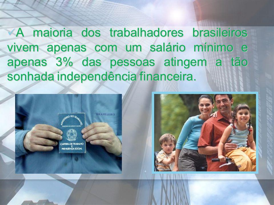 A maioria dos trabalhadores brasileiros vivem apenas com um salário mínimo e apenas 3% das pessoas atingem a tão sonhada independência financeira. A m