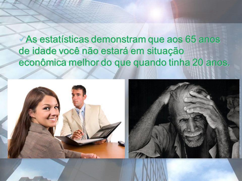 As estatísticas demonstram que aos 65 anos de idade você não estará em situação econômica melhor do que quando tinha 20 anos. As estatísticas demonstr