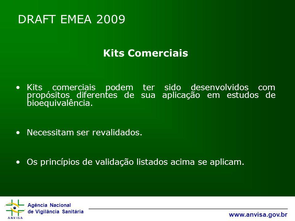 Agência Nacional de Vigilância Sanitária www.anvisa.gov.br DRAFT EMEA 2009 Kits Comerciais Kits comerciais podem ter sido desenvolvidos com propósitos diferentes de sua aplicação em estudos de bioequivalência.