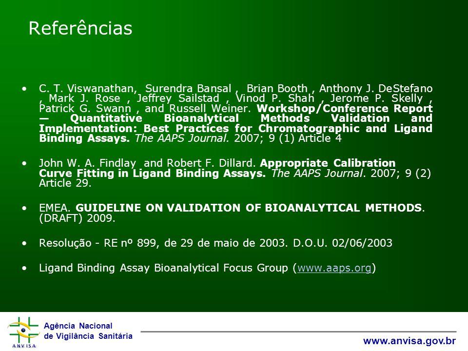 Agência Nacional de Vigilância Sanitária www.anvisa.gov.br Referências C.